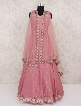 Pink designee georgette fabric wedding anarkali suit