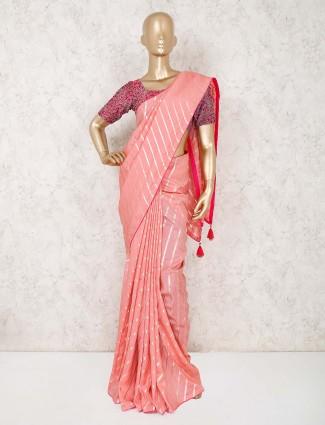 Pink designer leheriya cotton silk saree