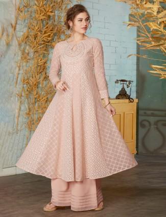 Pink designer georgette punjabi palazzo suit