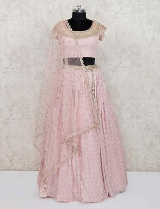 Pink designer georgette wedding lehenga choli