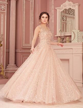 Pink designer gown in net