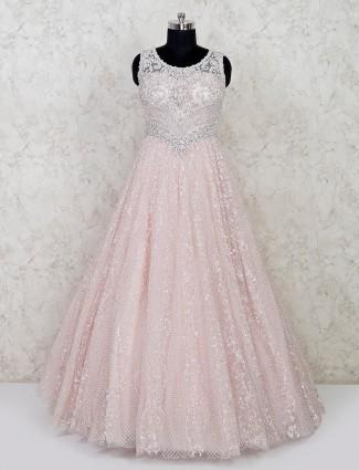 Pink designer net wedding wear gown