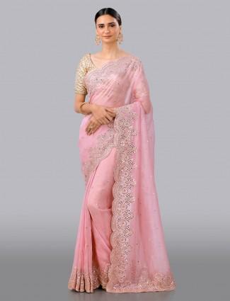 Pink designer organza tissue silk saree