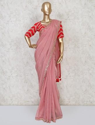 Pink designer orgenza tissue silk saree for party