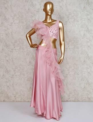 Pink designer palazzo suit in satin