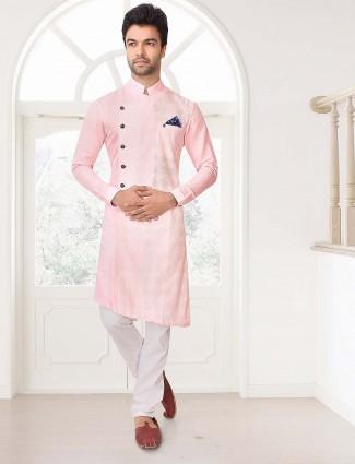 Pink designer party wear full sleeves kurta suit