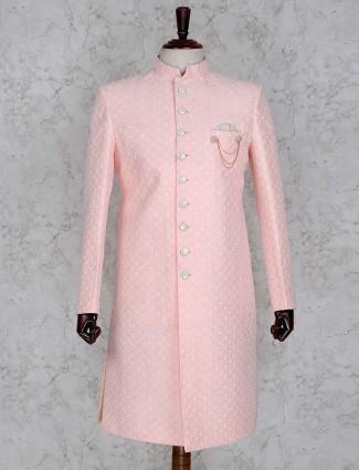 Pink designer silk indo western for wedding