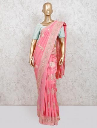 Pink dola silk festive wear saree
