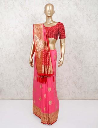 Pink dola silk wedding function saree