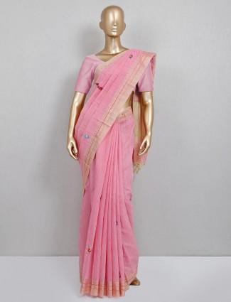Pink festive wear handloom cotton saree