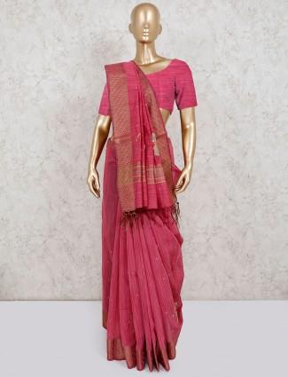 Pink festive wear saree in cotton