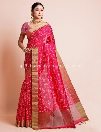 Pink festive wear south silk saree for women
