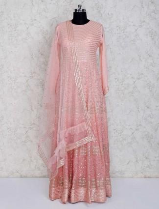 Pink georgette designer long anarkali suit