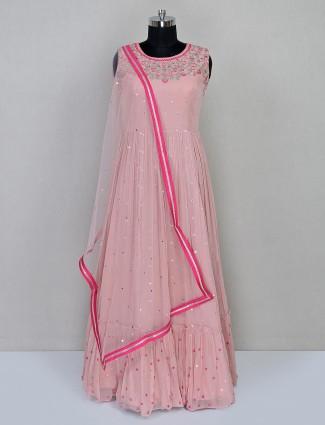 Pink georgette floor length anarkali salwar suit for wedding