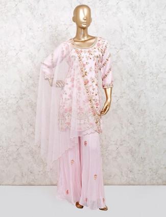 Pink georgette punjabi palazzo suit