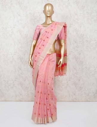 Pink handloom cotton classic saree