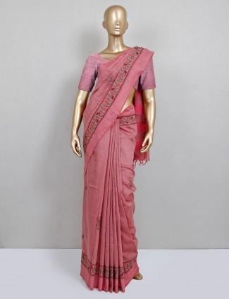 Pink handloom cotton fesitve session saree