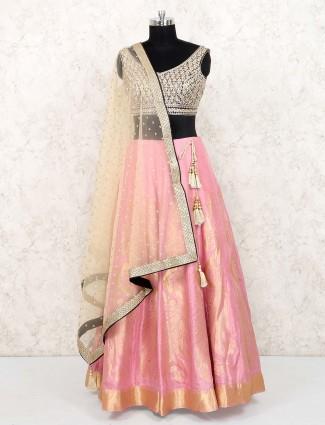 Pink hue banarasi silk lovely lehenga choli