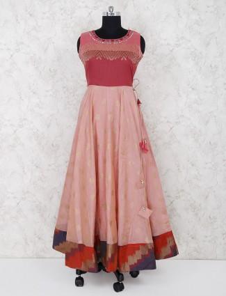 Pink hue cotton silk festive wear anarkali suit
