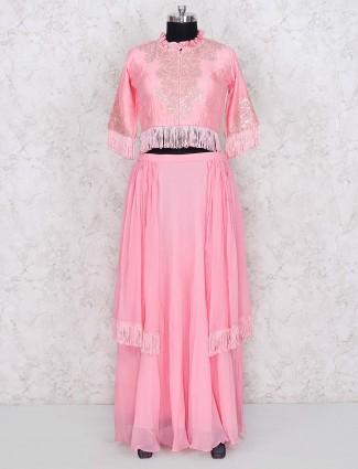 Pink hue cotton silk pretty lehenga choli