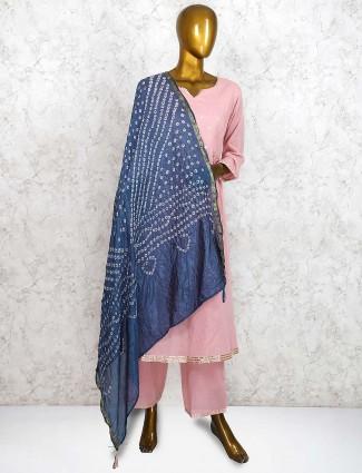 Pink hue festive cotton silk fabric punjabi palazzo suit