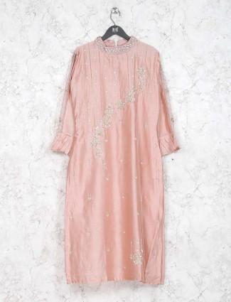 Pink hue festive kurti in cotton silk