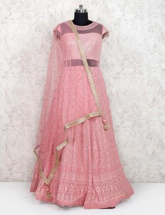 Pink hue georgette fabric floor length anarkali salwar suit