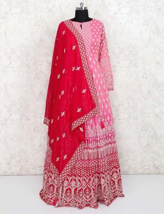 Pink hue georgette floor length anarkali salwar suit