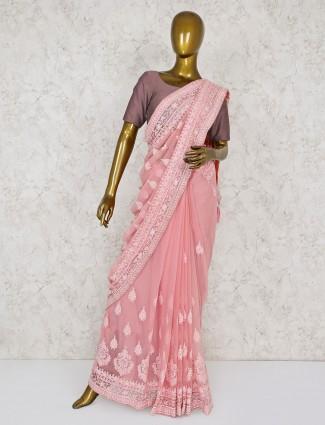 Pink hue georgette party wear saree