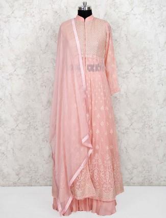 Pink hue lehenga cum salwar suit in georgette fabric