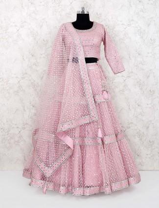 Pink hue net fabric lehenga choli