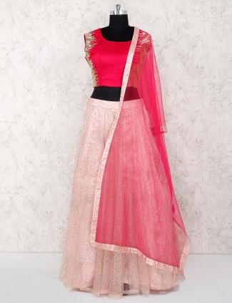 Pink hue net fabric wedding lehenga choli