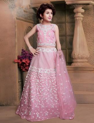 Pink hue net fabric wedding wear lehenga choli