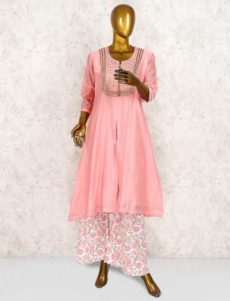 Pink hue pretty cotton punjabi palazzo suit for festive wear
