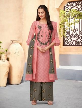 Pink hue pretty cotton silk punjabi palazzo suit