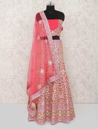 Pink hue pretty raw silk semi stitched bridal lehenga choli