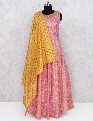 Pink hue printed floor length anarkali salwar suit in cotton silk