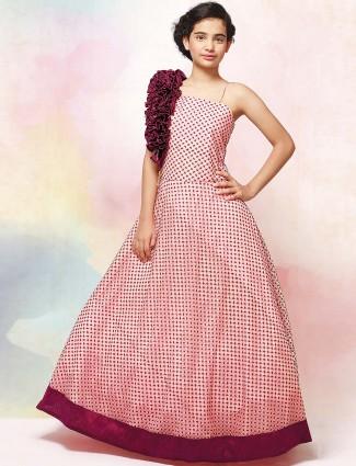 Pink hue printed floor length gown