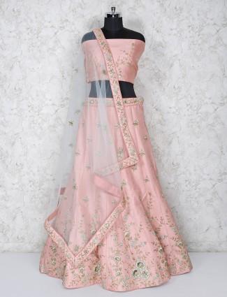 Pink hue raw silk semi stitched bridal lehenga choli