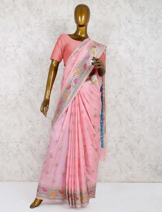 Pink hue semi silk wedding saree
