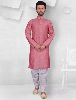 Pink hued cotton solid mens kurta suit
