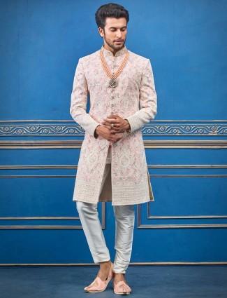 粉色Lakhnavi线程设计师Terry rayon印度西部