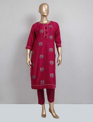 Pink latest cotton festive wear salwar suit