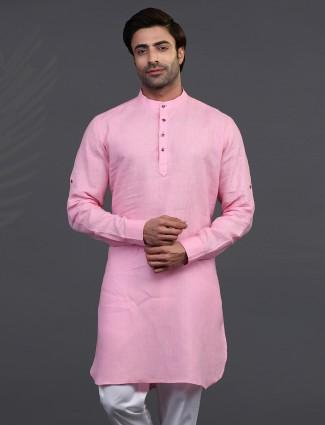 Pink linen mens kurta for festive days