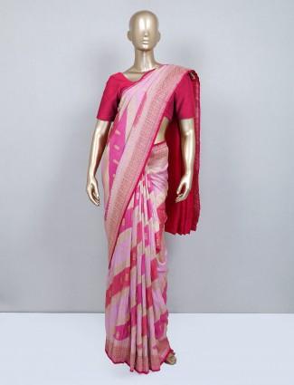 Pink m uga silk wedding wear saree