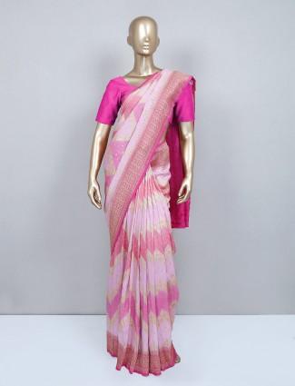 Pink muga silk wedding saree for women
