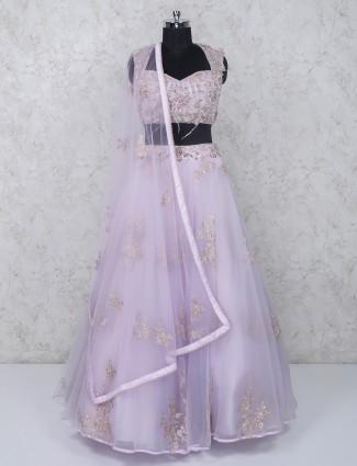 Pink net fabric sweetheart neck wedding lehenga choli