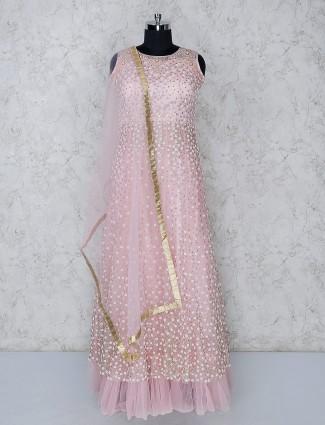 Pink net frill floor length anarkali salwar suit