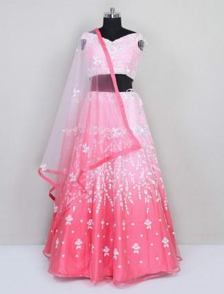 Pink net lehenga choli design