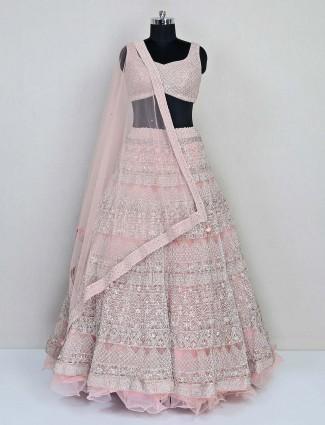 Pink net premium wedding wear designer lehenga choli